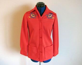 Red Ladies Vintage Western Shirt, Size 10 or Medium, 34 bust, 33 waist, 23 sleeve