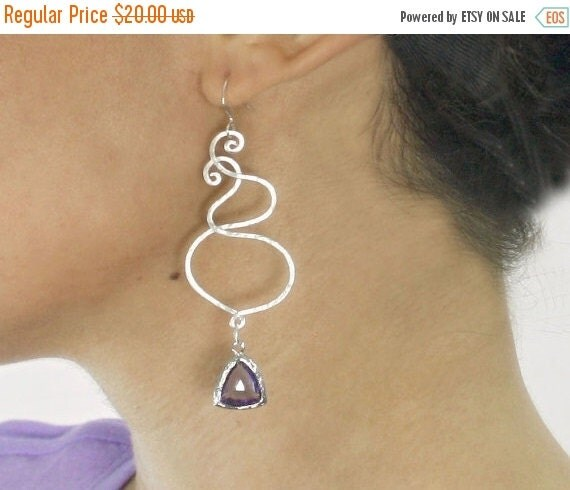 15 OFF. chandelier  Swirl earrings. Silver and purple drop earrings with Sterling silver ear wires and trillion drop.