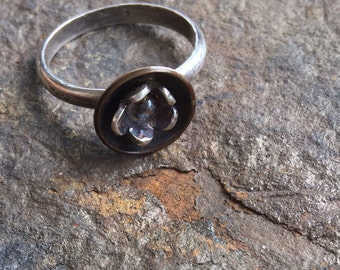 Copper and sterling silver flower ring