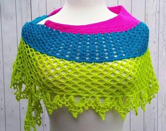 Modern Fashion Crescent Shawl Neon Pink Blue Lime Green