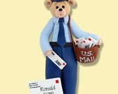 Belly Bear MAILMAN / Letter Carrier Handmade Polymer Clay Personalized Christmas Ornament