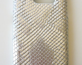 Samsung Galaxy S7 Edge Silver Snake Leather Cell Phone Mobile Snap on Hard Case Cover
