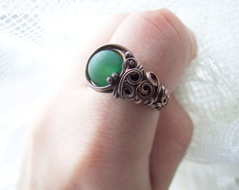 Green Agate Ring, Natural Woodland Copper Ring with Green Agate