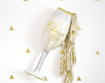 Champagne Glass Tassel Balloon, Bachelorette and Anniversary Decor, New Years Eve, Photo Booth Prop, Gold Champagne Backdrop, Pop Fizz Clink