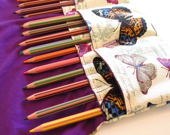 60 pencils, 100 pencils, Pencil Roll Case - Butterfly Colouring Pencil Case - Purple - Gift for Her