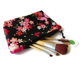 Make Up Bag with Zip Cosmetics Bag with butterflies pink and black