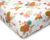 Floral crib bedding - BROOKLYN BLOOMS - baby sheet - Peach Mint