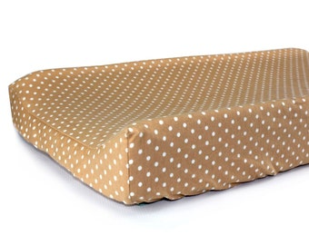 COFFEE POLKA DOT - Nursery Bedding - Baby Changing Station - Modern Changing Pad Cover