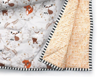 WOODLAND baby blanket- gender neutral bedding- woodland nursery bedding- fox deer baby blanket- gray crib comforter -baby shower gift