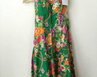 vintage hippie 70s corset floral dress