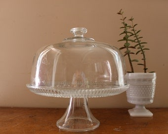 Party Time... Vintage Glass Cake Plate, Cake Platter