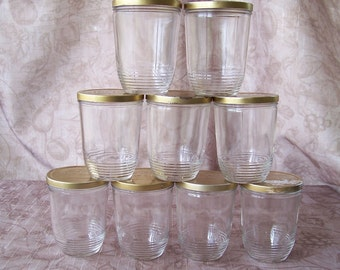 Vintage set of 9 Kerr jelly glass jars.  C3-232-3