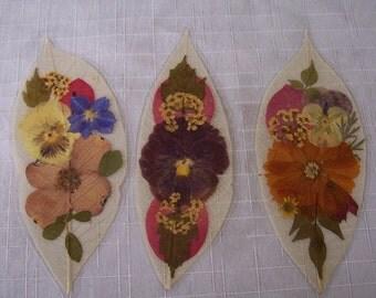 Pressed flowers on leaf skeletons book marks, set of 3. Set 041.