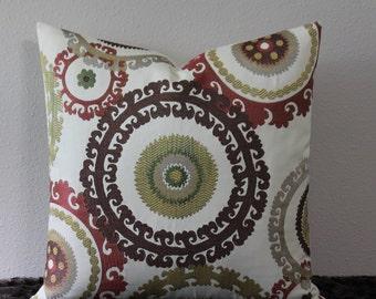 "SALE - Suzani Taraz Woven Tapestry in Teak - 20"" x 20"" - Dark Brown, Brick Red, Gold, Celedon and Beige - Decorative Designer Pillow Cover"