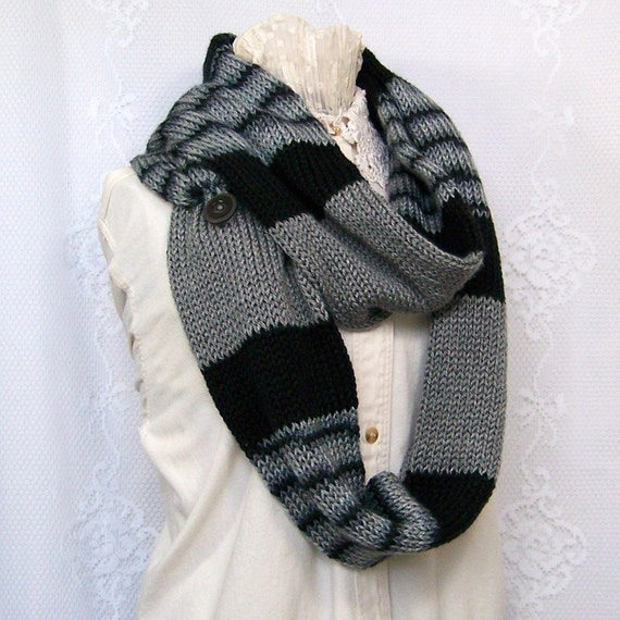 Knit Scarf - Infinity Scarf in black and grey - Circle Scarf - Winter Accessories Winter Fashion Sandy Coastal Designs - made to order