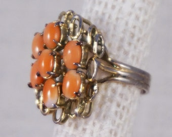 Vintage Natural Coral and Gold Tone Cocktail Ring Brutalist Style