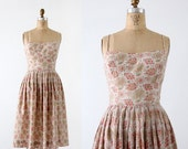 SALE vintage 50s dress by Greta Platry, floral party dress, sundress