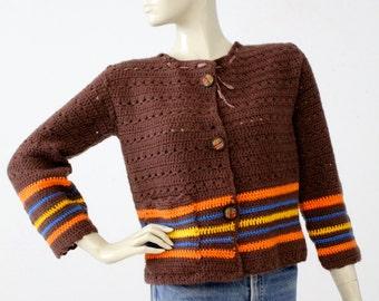 1970s crotchet cardigan sweater, vintage chunky knit cardi