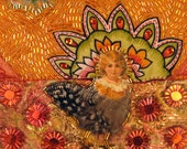 Chicken harpy mixed media stitch applique embellish textile collage on fabric wrapped canvas