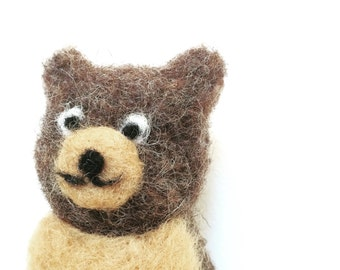 Needle Felted Bear, teddy bear brown whimsical ecofriendly decor