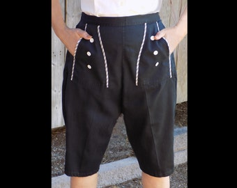 1950s RARE black cotton ROCKABILLY pedal pushers/ capri pants/ clam diggers, with Gingham trim on pockets/ T.V. /Stage/ film