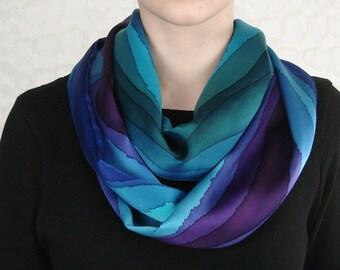 Silk Jewel Tone Stripe Infinity Loop Scarf