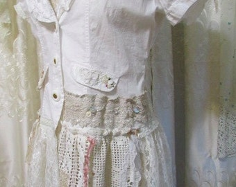 Romantic White Blouse, shabby and chic white cotton shirt, lace embellished blouse, womens refashioned altered clothing, asymmetric hem XL