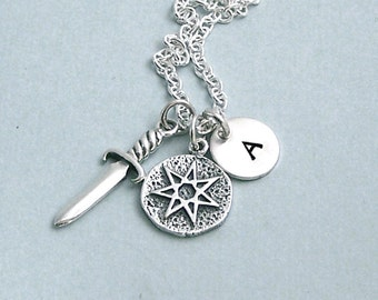 Game of Thrones Personalized Charm Necklace - Seven Pointed Star with Dagger and Initial Disc -