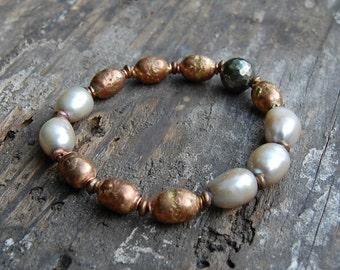 African Prayer Bead & Champagne Pearl Bracelet