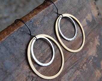 Hammered Matte Gold & Pewter Hoop Earrings