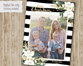 Christmas Card, Photo Christmas Cards, Photo Holiday Cards, Holiday Cards, Black and White Stripe, White Floral, Glitter Christmas