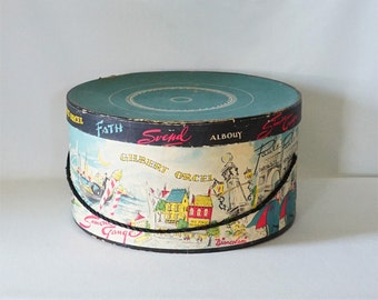 Vintage Round Papered Hat Box with Designer Names