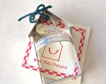Vintage House and Heart Cookie Cutter Set Plus Recipe Ronald McDonald House 1990s Heart of This House