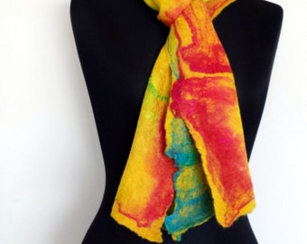 Yellow felted fine merino wool scarf with scarlet red, yellow, green and blue mulberry silk surface decoration 'Paintbox'