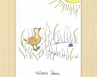Welcome Home greeting card, duck greeting card, pond greeting card, Home sweat Home, Sun Card, Nature Card, eco friendly, recycled paper
