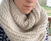 Cozy Crochet Infinity Scarf / Cream White Scarf / Ribbed Acrylic Wool Scarf / Handmade Scarf Cowl / Ready to Ship
