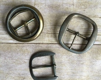 Vintage Belt Tips and Buckles - Set of 3 -