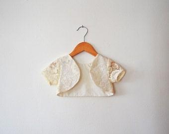Short Sleeved Cream Lace Bolero Jacket