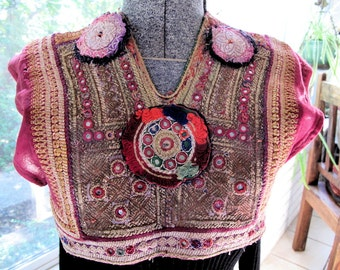 Kuchi Dress Yoke Remnant Hand Embroidery Textile with Mirrorwork from Afghanistan