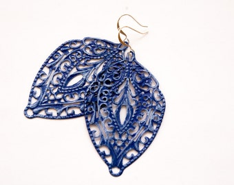 Blue Earrings, Filigree Earrings, Blue Filigree Earrings, Shabby Chic Earrings, Dangle Earrings, Patina Earrings, Gifts for Her