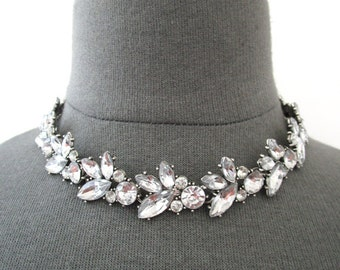 Hollywood Regency Rhinestone Necklace Wedding Bridal Chunky Statement Retro Choker Necklace Woman Jewelry Accessory Diamond Silver Leaves