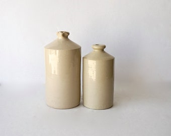 Pottery Bottles / Large / Set of Two / Saltware / Shipping Included in the U.S.