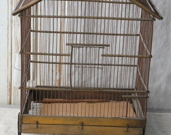 Large French bird cage with blown glass bird feeder