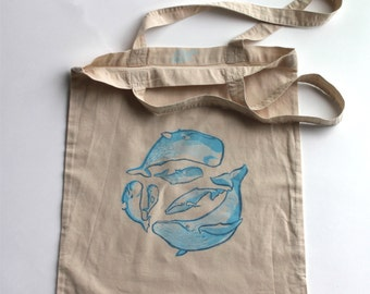 Whales Tote bag, cotton, blue, original linocut print, hand printed, sperm whale, beluga whale, humpback whale and babies