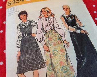 Vintage Simplicity Pattern 5354, 70's pattern, jumper pattern, skirt pattern, blouse pattern, size 12 pattern, uncut pattern