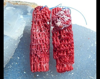 Nugget Red Coral Earring Beads,52x15x14mm,9.0g