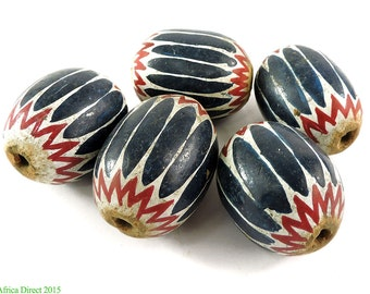 5 Painted Clay Beads Venetian Chevron Imitations Cameroon African Loose 101869