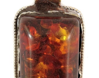 Tibetan Pendant Brass Repoussee Amber Color 106025