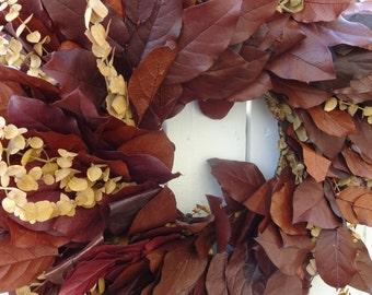 Salal Wreath   Autumn Wreath  Eucalyptus Wreath  Natural Wreath Preserved Wreath  Elegant Wreath  Fall Wreath Home Decor  Fragrant Wreath
