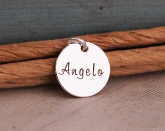 Mini Name Tag / Hand Stamped Mommy Jewelry / Personalized Charm / Small charm